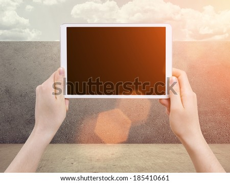isolated woman hand holding the phone tablet touch computer gadget - stock photo