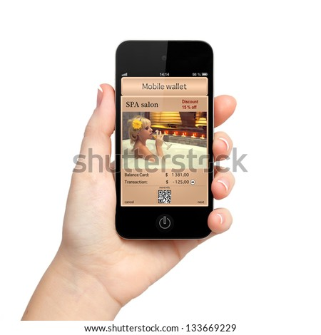 isolated woman hand holding the phone touch with a mobile wallet and a discount at the spa salon on the screen - stock photo
