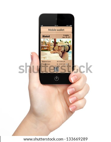 isolated woman hand holding the phone touch with a mobile wallet and paid for the ticket to the hotel on the screen - stock photo