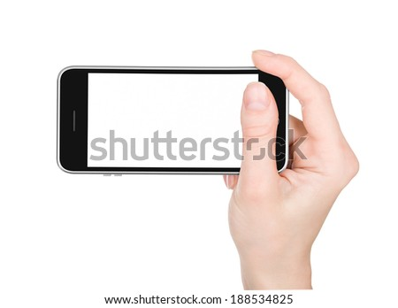 isolated woman hand holding the phone with isolated screen - stock photo
