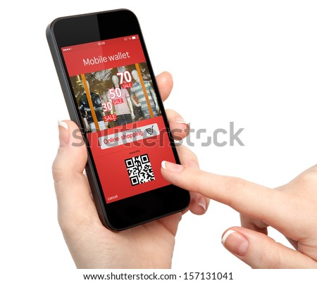 isolated woman hand holding the phone with with mobile wallet onlain shopping on the screen - stock photo