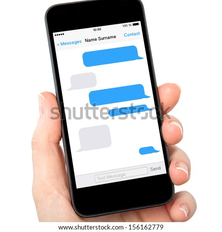 isolated woman hand holding the tauch phone with sms chat on a screen - stock photo