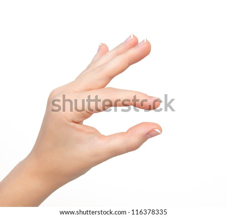 isolated woman hand shows the pinch to zoom or holding the object