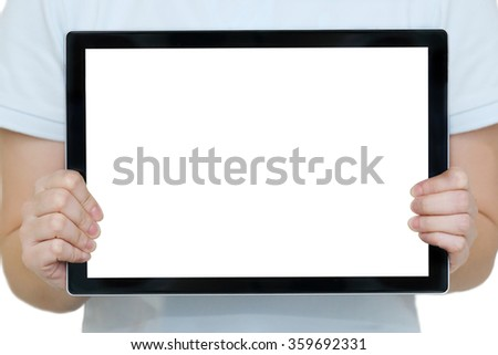 isolated woman  hands holding a tablet with blank copy space - stock photo
