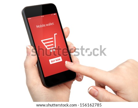 isolated woman hands holding touch phone and make online shopping - stock photo