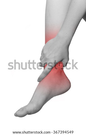 isolated woman leg with ankle pain - stock photo