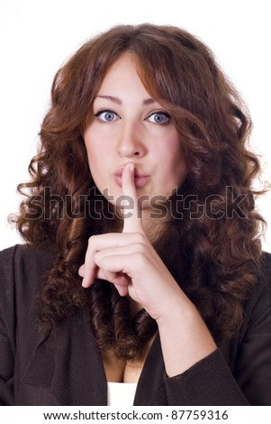 Isolated woman Making Silence Gesture..