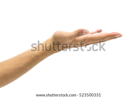 isolated woman's hand in front of white wall