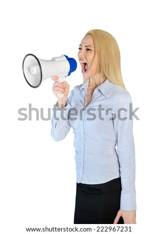 Isolated woman scream with loudspeaker