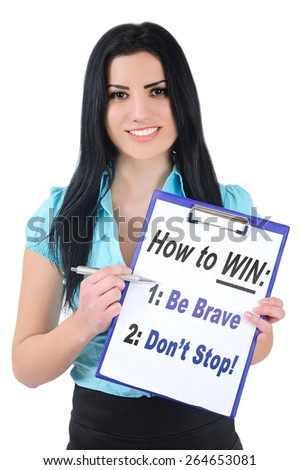 Isolated woman showing blank clipboard - stock photo