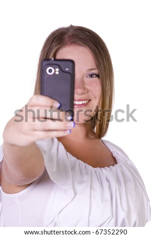 Isolated Woman taking  pictures from her cell phone