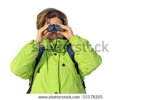 Isolated woman with spyglass