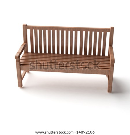 isolated wood bench - stock photo