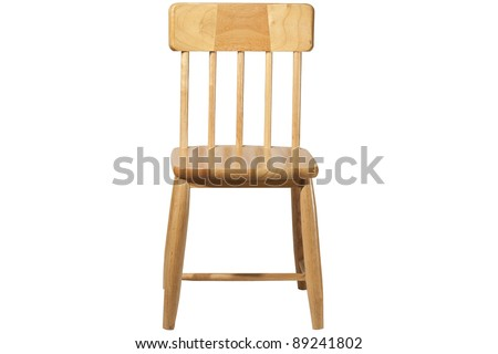 isolated wood chair - stock photo