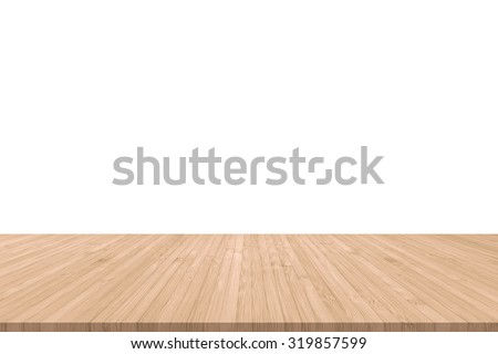 Isolated wood floor texture in light red brown color tone for product placement/ display on empty white wall background/ backdrop: Wooden table with timber edge in orange beige brown toned colour    - stock photo