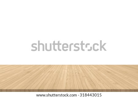 Isolated wood floor texture in light yellow cream color tone for product placement/ display on empty white wall background/ backdrop: Wooden table with timber edge in creme beige brown toned colour    - stock photo