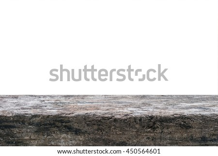 Isolated wood tabletop grungy lumber log texture background on white background for placement product object display: Old aged decay rod grunge ancient wooden floor/ table top textured detail backdrop - stock photo
