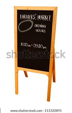 Isolated Wooden Black board with clipping path - stock photo