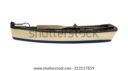 Isolated wooden boat - stock photo