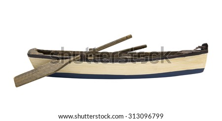 Isolated wooden boat with paddles  - stock photo