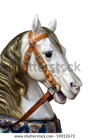 isolated wooden carousel horse on a merry-go-round - stock photo