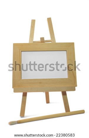 isolated wooden frame on easel on white background for announcement with clipping path - stock photo