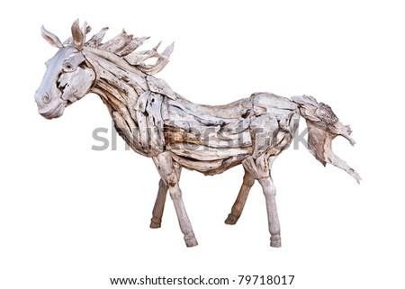 isolated Wooden horse on white background - stock photo