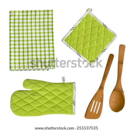 Isolated wooden kitchen utensils, glove, potholder and towel - stock photo