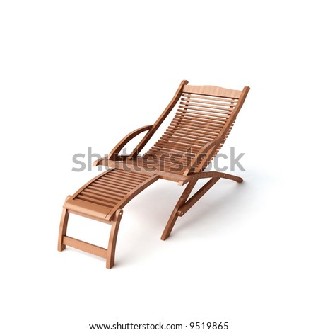 isolated wooden lounge - stock photo