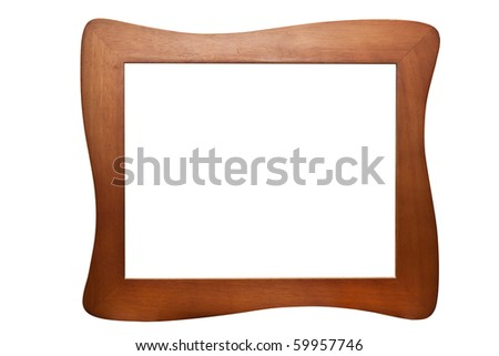Isolated wooden Photo Frame - stock photo