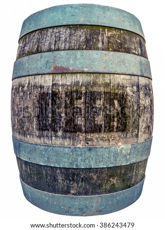 Isolated Wooden Vintage Barrel Or Keg Of Beer - stock photo