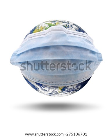 Isolated world globe with a medical mask. The planet earth image provided by NASA. - stock photo