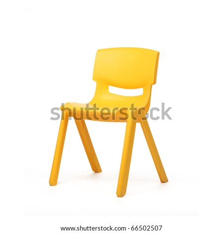 isolated yellow chair on white background