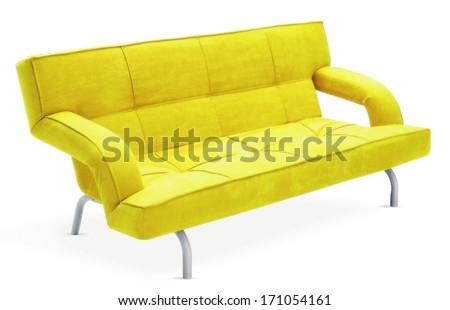 isolated yellow couch  - stock photo