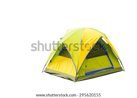 Isolated yellow dome tent with clipping path - stock photo
