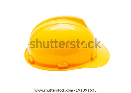 Isolated yellow hard hat on white background