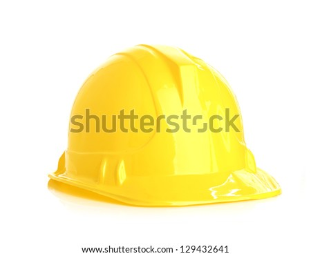 Isolated yellow helmet - stock photo
