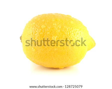 Isolated yellow lemon with water drops. Fresh diet fruit. Healthy fruit with vitamins. - stock photo
