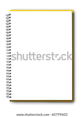 isolated  yellow notebook on white.
