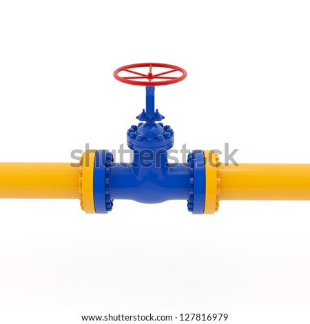 Isolated yellow pipeline with red valve on white background - stock photo