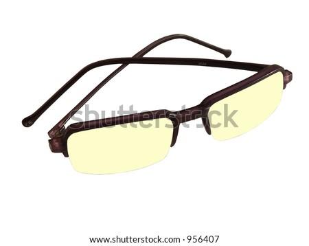Isolated yellow sunglasses - stock photo