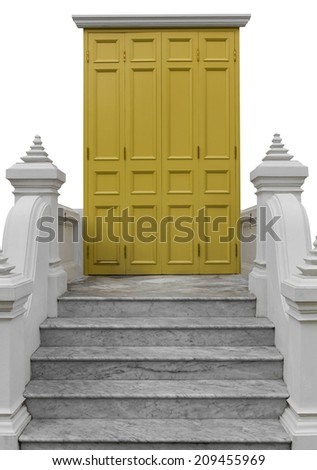 Isolated yellow wooden door with white columns, marble stairs. - stock photo