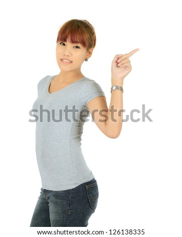 Isolated Yong Asian Woman - stock photo