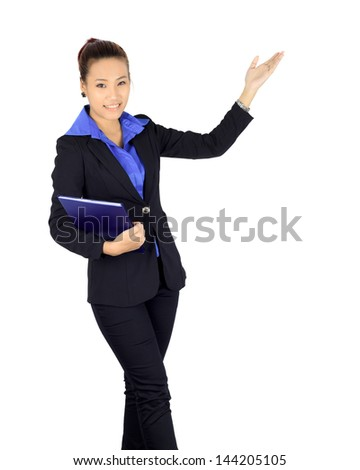 Isolated young asian business woman with presenting posture over white