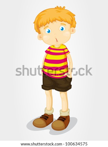 Isolated young boy with puzzled expression - EPS VECTOR format also available in my portfolio. - stock photo