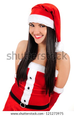Isolated young brunette christmas girl smiling