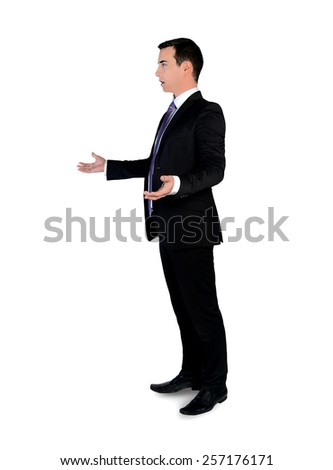 Isolated young business man arguing - stock photo