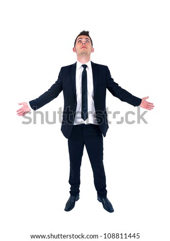 Isolated young business man hope