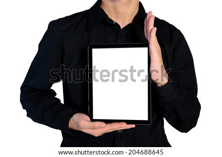 Isolated young business man showing tablet with blank screen - stock photo