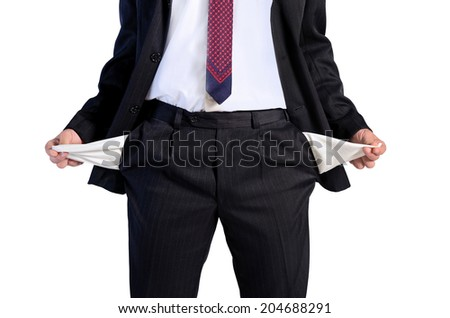 Isolated young business man unemployed - stock photo